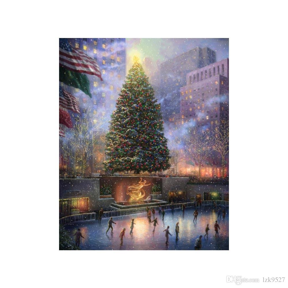 Oil Painting Prints On Canvas Wall Art Picture For Living Room Home Decorations Unframed Christmas In New York