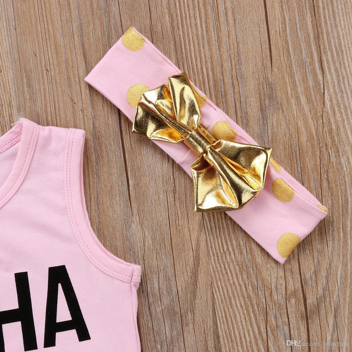 Summer Kids Girls Clothes Pineapple Outfit Vest+Shorts+headband 3-piece set Baby Tassel Clothes Girls Hawaii Beach Boutique Costume