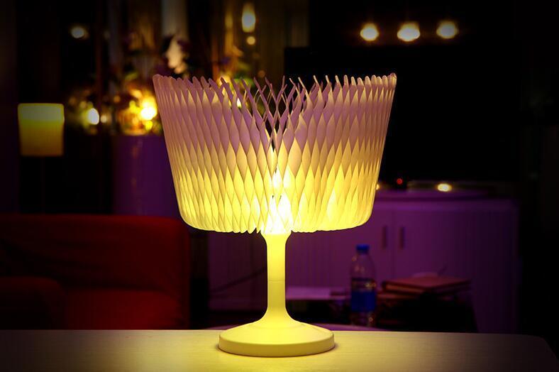 3D luz de la noche diy forma escultura duptont papel led lámpara de mesa táctil romántica luz de la noche cambia de color lámpara 12 unids