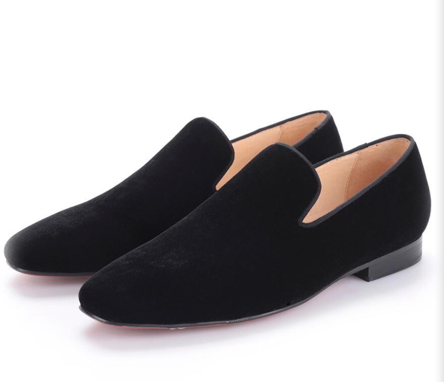 2018 new arrival men black velvet handmade flats shoes Fashion wedding and party men dress shoes plus size men loafe