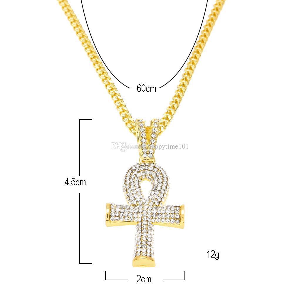 مجوهرات الهيب هوب المصرية الكبيرة عنخ قلادة القلائد مجموعات صغيرة مربعة روبي الياقوت مع الصليب سحر الكوبي رابط للرجال الموضة