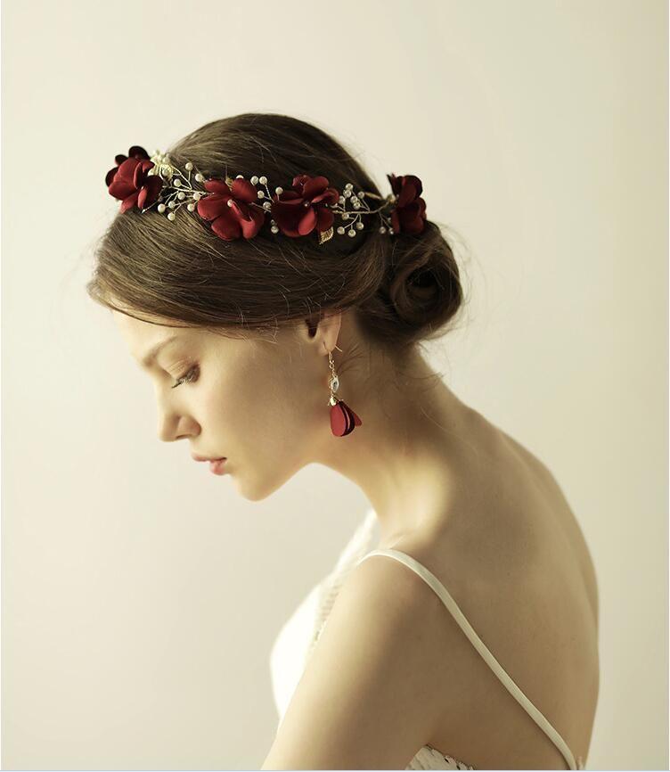 Vintage Burgundy Flower Headband wedding Elegant Hair accessories Leaf Pearls Bride Headpiece Bride Tiara Jewelry For Beach Country Wedding