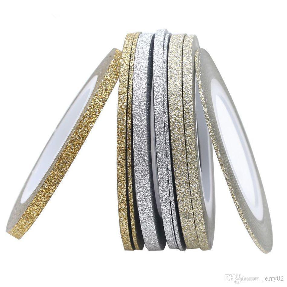 Diy Nail Uv Gel Polish Gold Silver Matte Rolls Striping Tape Line