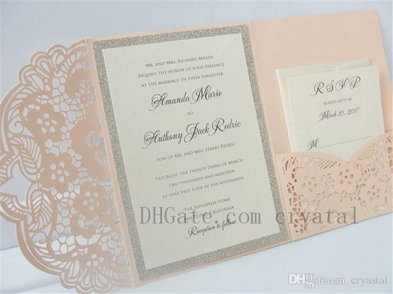 elegant lasercut wedding invitation laser cut pocketfold wedding