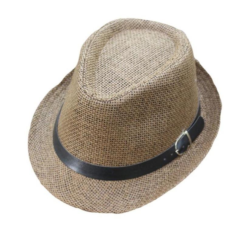 Compre Sombrero Del Bebé De Los Niños Verano Trilby Gangster Cap Patrón De  Celosía Accesorios Para Bebés Playa Sun Sombrero De Paja Banda Sombrero Para  El ... b597d76453c