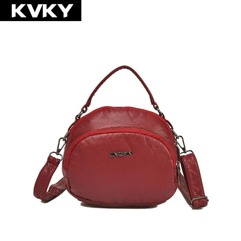 0fc9ce0a1309 KVKY Fashion Women Soft PU Leather Handbags High Quality Ladies ...