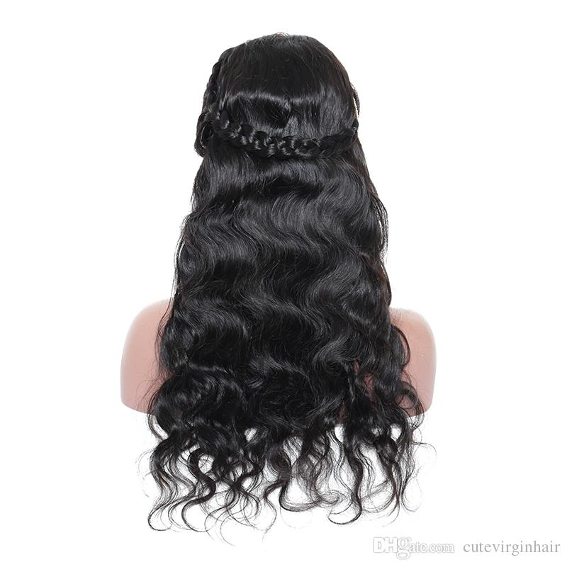 Body Wave Lace Front Human Hair Long Wigs For Black Women Pre Plucked Virgin Lace Wigs With Baby Hair 150% Density Natural Color