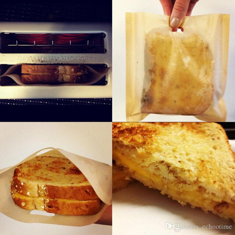 Hot Selling PTFE Sandwich Toasters bread cake Bag reusable non stick baking bag barbecue microwave oven Fries Heating bag BBQ bags 16*16.5cm