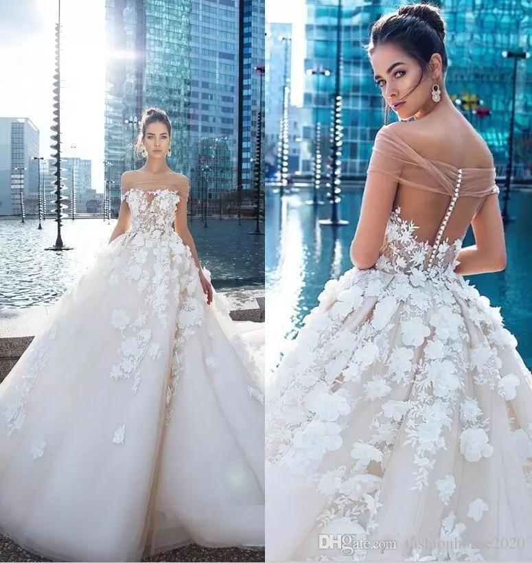906b852fd9e Discount 2018 Vintage A Line Wedding Dresses Off Shoulder Keyhole 3D  Flowers Lace Appliques Open Back Wiht Button Chaple Train Plus Size Bridal  Gowns ...