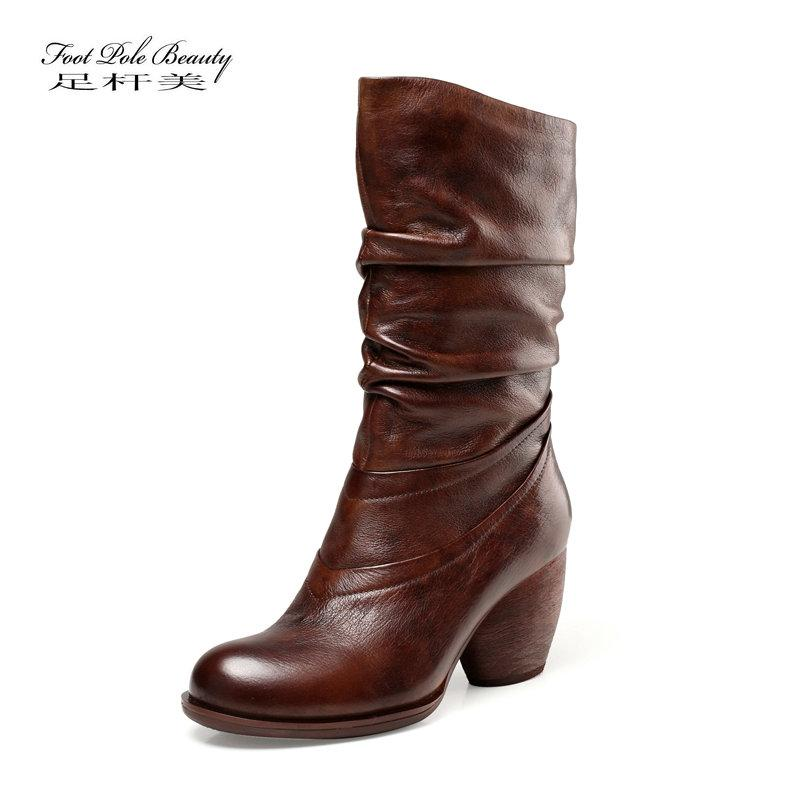 f59300eb548 Retro Mid-Calf Boots Women s Shoes 2018 winter New Real Cow Leather Lady  Booties Round Toe Europe Female High Heel Footwears