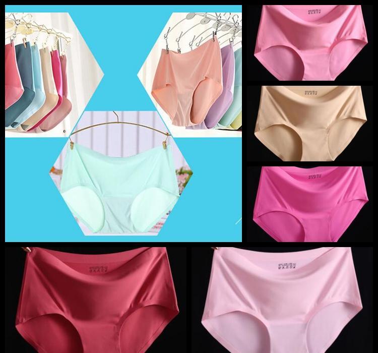 b5eac8e6ad2557 Nahtlose Frauen Unterwäsche Solid Silk Satin Unterhose Damen Atmungsaktive  Briefs Nahtlose 15 Farbe Dessous Briefs KKA6122
