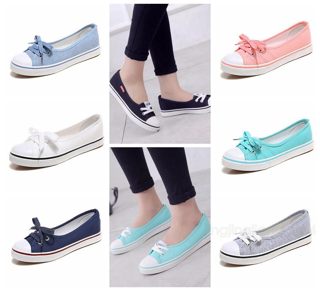 Spring Canvas Women Shoes Breathable Ballet Flats Female Slip-on Low ... 39c717e13313