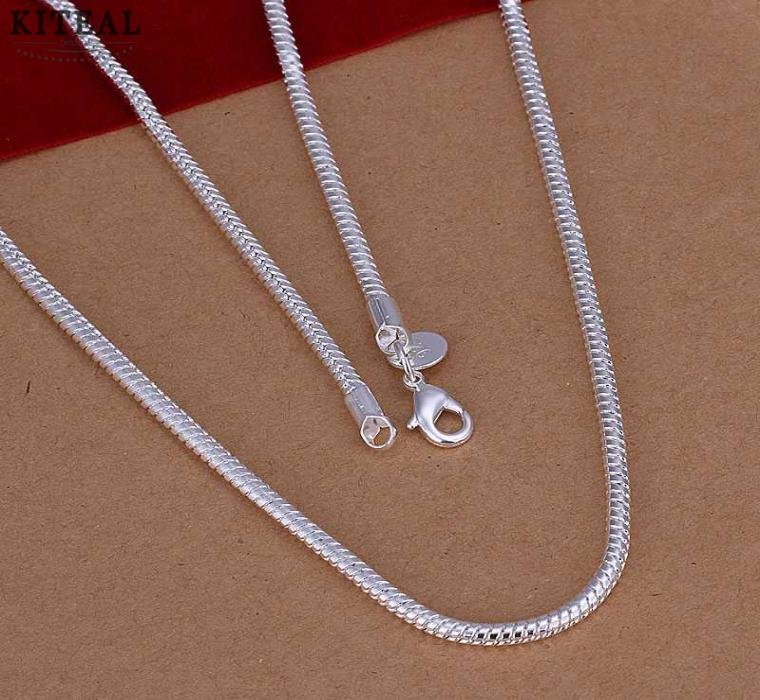 Wholesale Cn4 2mm 16 18 20 22 24 Twist Rope Chain Necklace Fashion Jewelry 925 Stamp Silver Necklaces For Men Women Blue Pendant