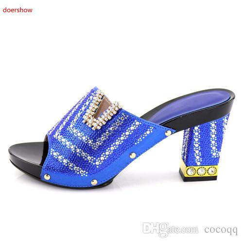 New Fashion African Pumps Shoe Summer High Heels Top Quality African Sandals Heels Pumps royal blue Color African Wedding Women Shoes KU1-23