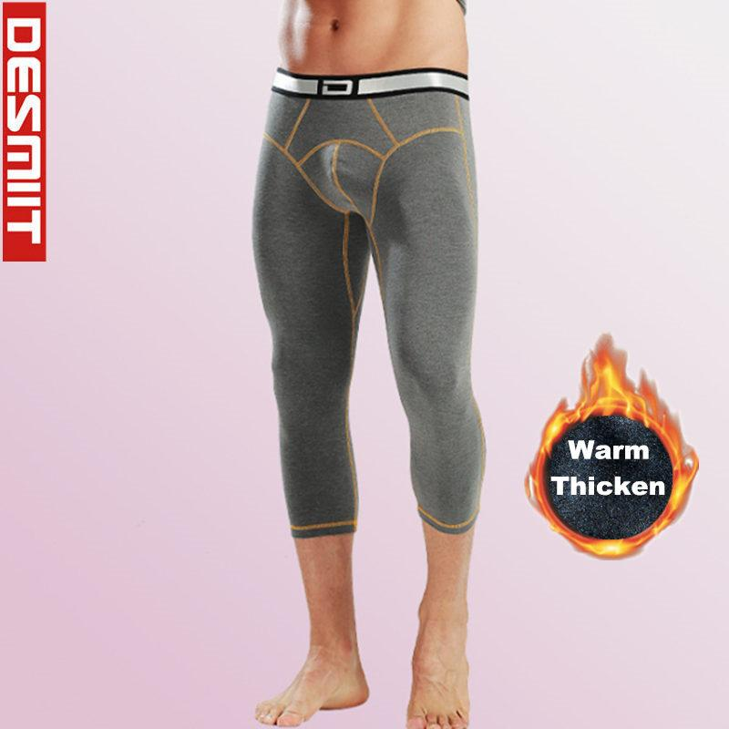 Thicken Warm Winter 3/4 Leggings Running Tights Men Gym Home Sport Fitness Training Compression Pants 2 In 1 wintersport Leggins