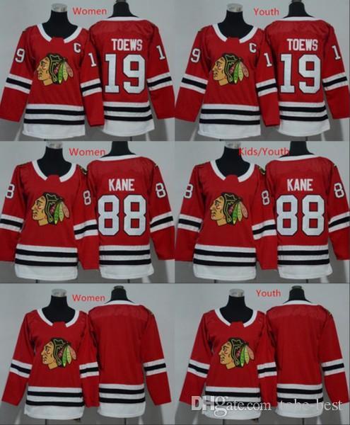 2019 Men Women Youth Chicago Blackhawks Jerseys 88 Patrick Kane 19 Jonathan  Toews Blank Home Red Kids Ice Hockey Jersey Ladies Boys Girls From Tobe  Best ed4ecf019f