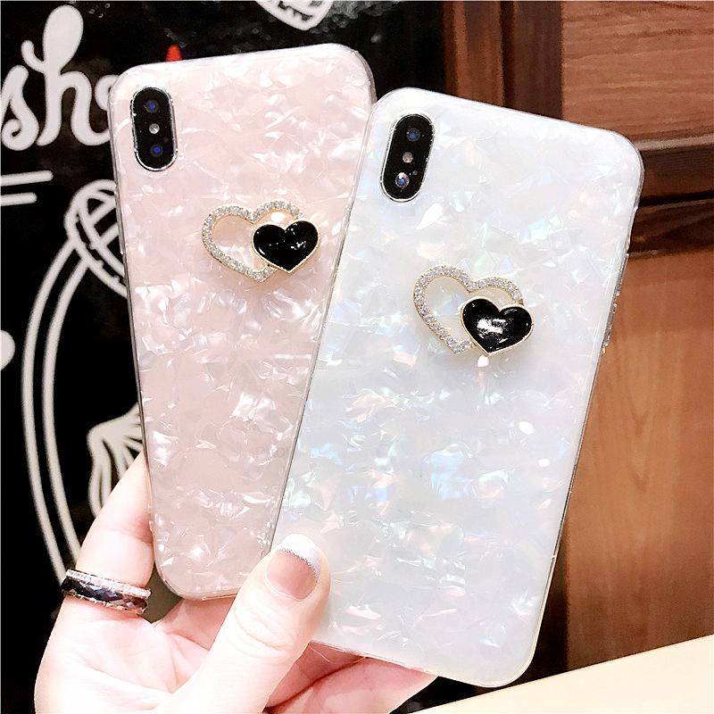 89df52498 For IPhone 6 6s 7 8 Plus X For Samsung Galaxy S7 Edge S8 S9 Plus Note 8  Fresh Cute Diamond Heart Shell Phone Case Cover Custom Leather Cell Phone  Cases ...
