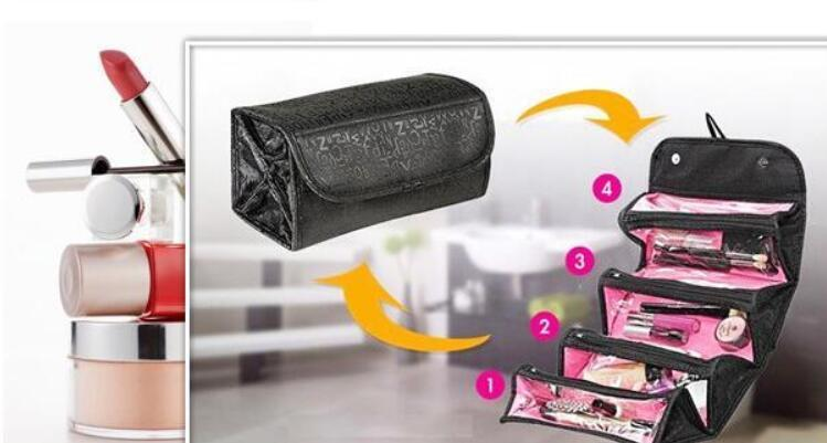 ROLL-N-GO Make Up Cosmetic Bag Case Cases Women Makeup Bag Hanging Toiletries Travel Kit Jewelry Organizer Cosmetic Case Foldable