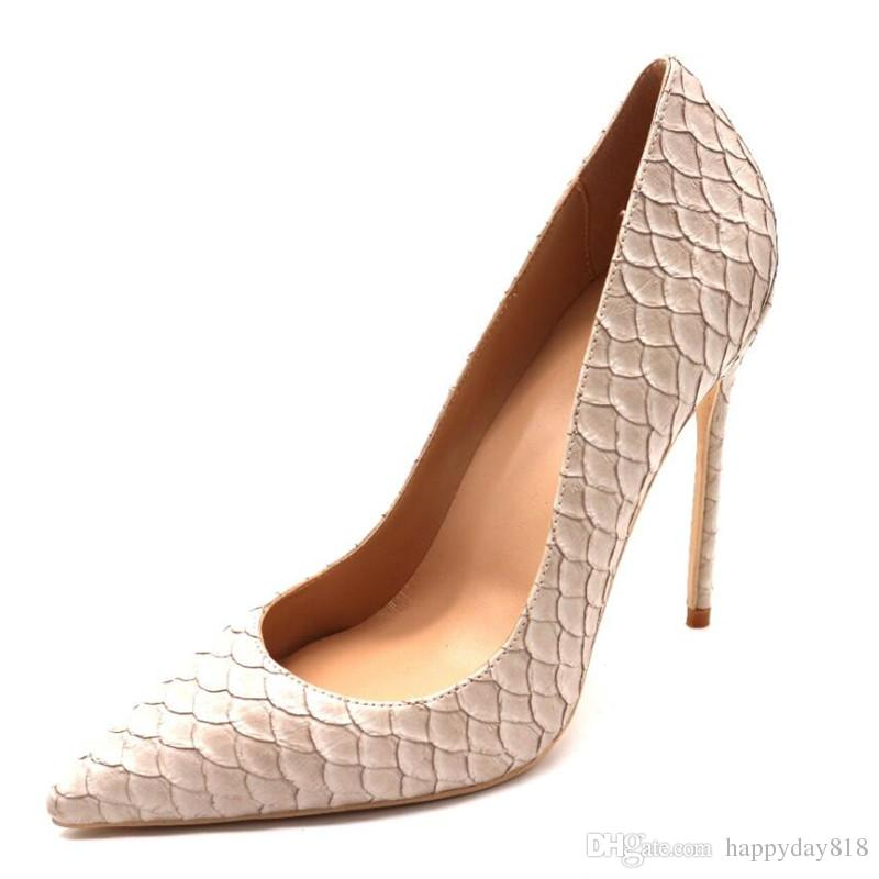 real photo luxura genuine leather fashion real pic discount brand New beige python snake pointed toe High heels pumps shoes