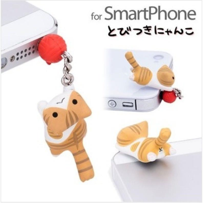Foryoume New Fashion Mobile Phone Cat Anti-Dust Plug Earphone Dustproof Cover IPhone Stopper Cap 3 5mm Universal Dust Plug foryoume@CSH