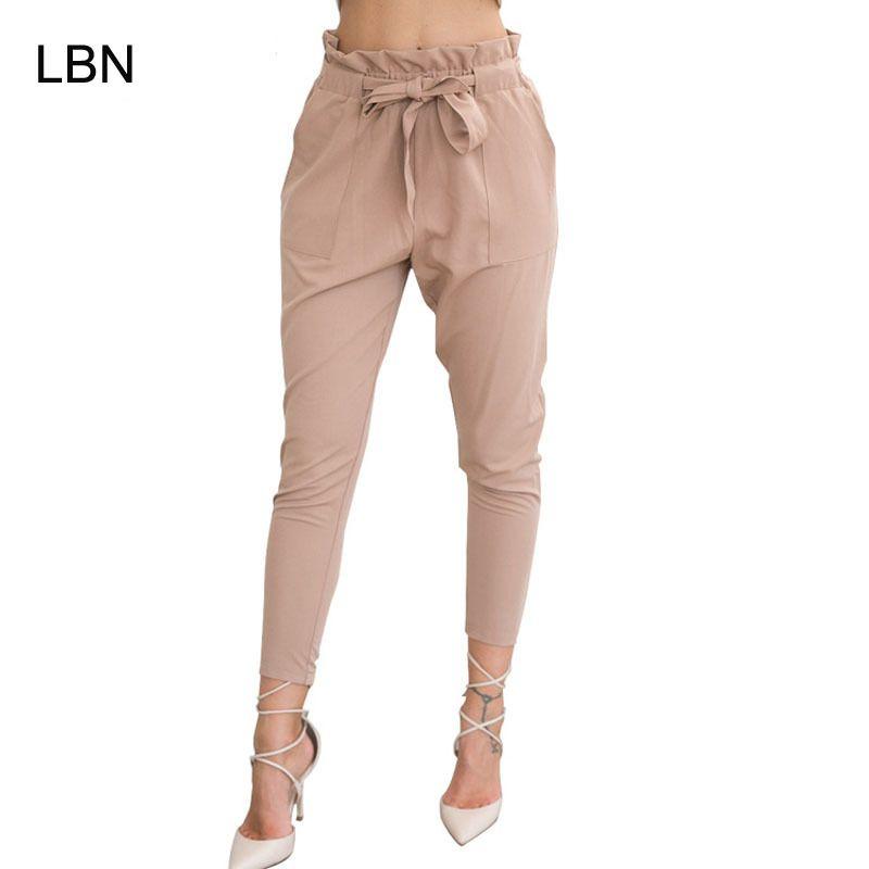 Compre 2018 Nueva Marca Alta Cintura Elástica Pantalones Harem Mujeres  Primavera Verano Moda Novena Pantalones Mujer Oficina Dama Negro Pantalones  Cinturón ... ff27e3743c6e