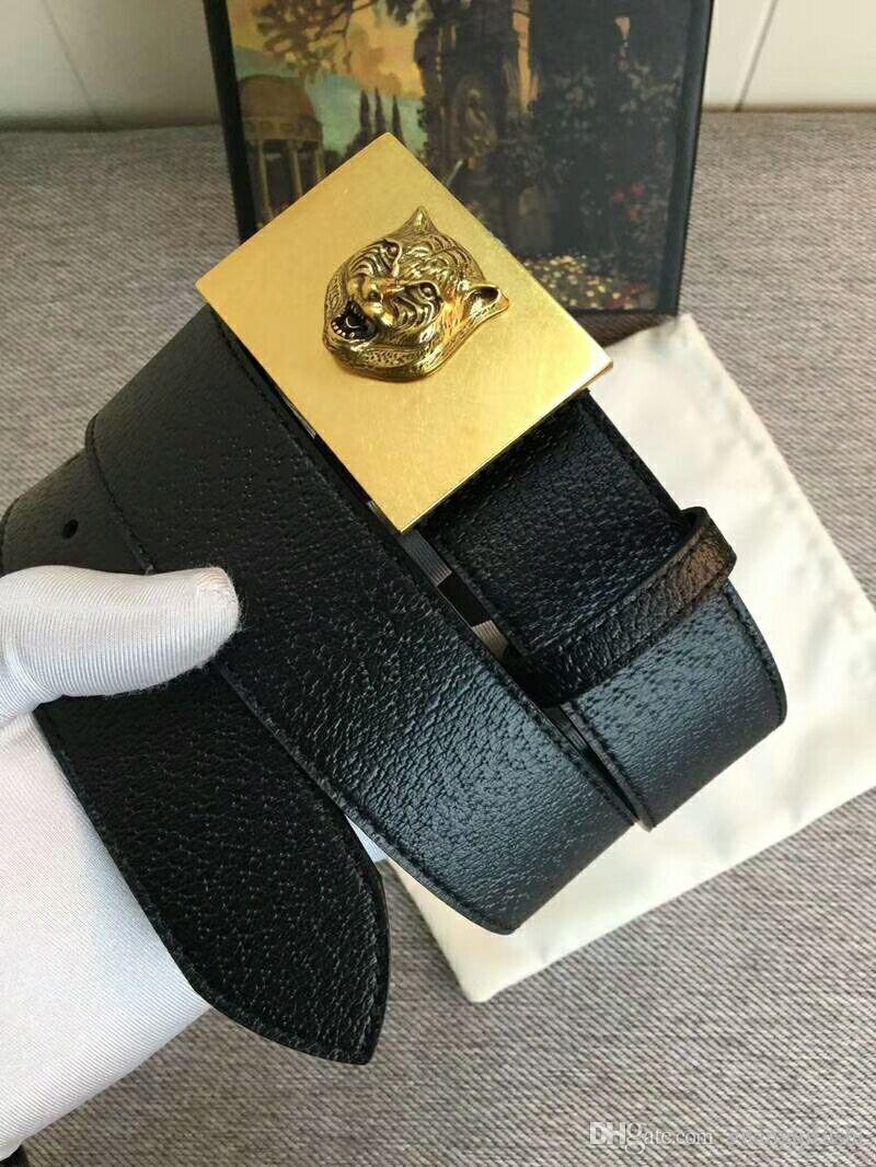 High quality gold square buckle tiger head pattern designer men's belts lychee strap Genuine Leather belt with box