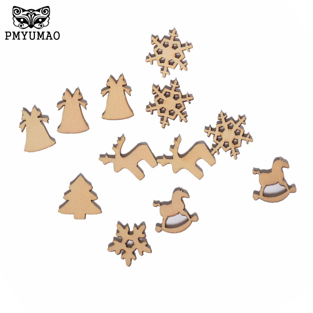 Christmas Horse Decorations.Pmyumao 100pcs Lot 20mm Natural Wood Christmas Ornaments Reindeer Tree Snow Flakes Rocking Horse Xmas Decoration New Year D