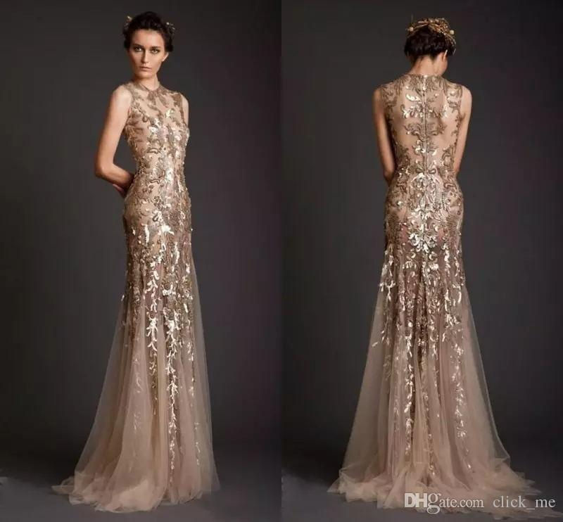 Hot Sell Mermaid Evening Dresses Guld Appliques Tulle Sheer See Through Neckline Prom Klänning Lång Formell Dubai Dresses Party Gowns