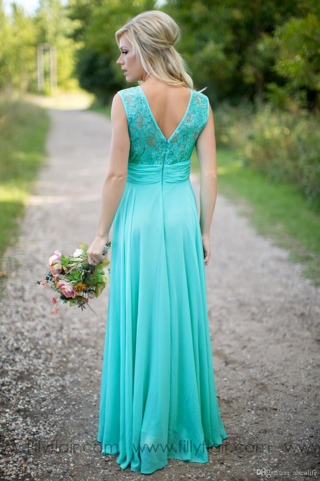 Бирюзовый Bridesmaids платья Sheer Jewel Шея Кружева Top шифон длинное Страна невесты горничной честь гостей свадьбы платья