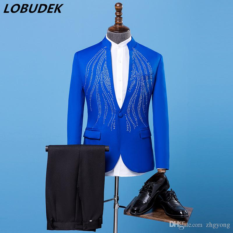 2019 Male Slim Suits Adult Costumes Blue Bright Crystals Blazers Trousers Suit  Prom Singer Chorus Master For Wedding Stage Outfit Host Costume From  Zhgyong 12647db4b570
