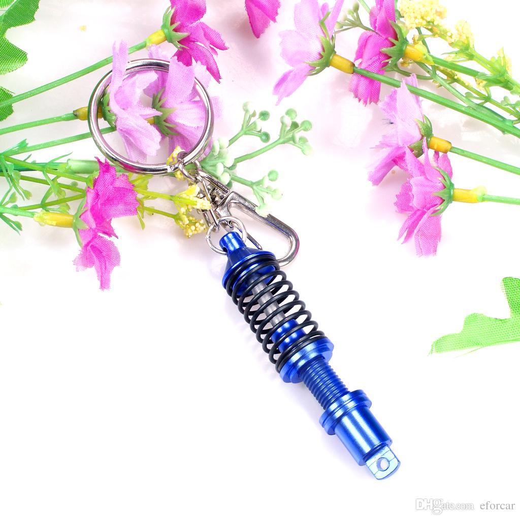 자동차 키 체인 충격 조절 가변 코일 서스펜션 댐퍼 열쇠 고리 자동차 키 체인 혼합 색상 도매