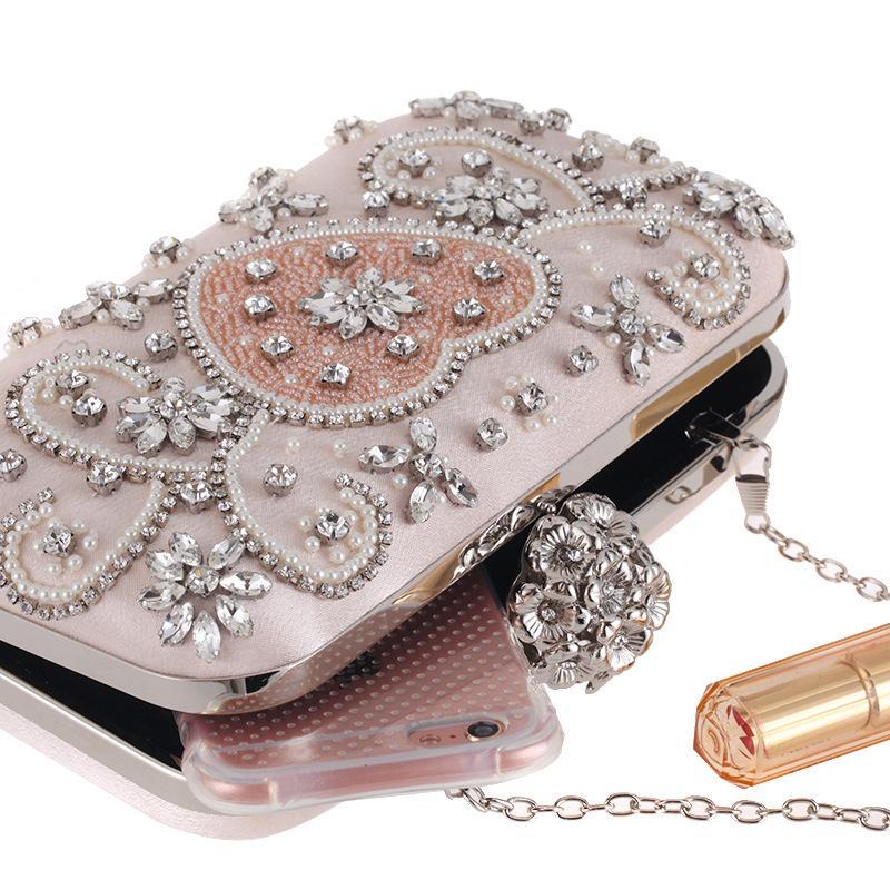 Lady elegant clutch bag 2018 new pink color hand-made diamond dress dinner drill handbag party bag wedding clutch evening bag