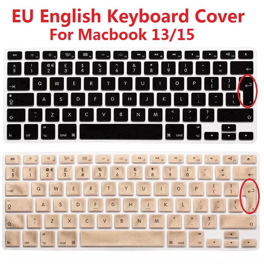 new product 8bcf4 d621c Solque Silicone EU Euro Version English Keyboard Cover For Macbook Air Pro  Retina 13 15 Laptop Keyboard Skin Protector For iMac