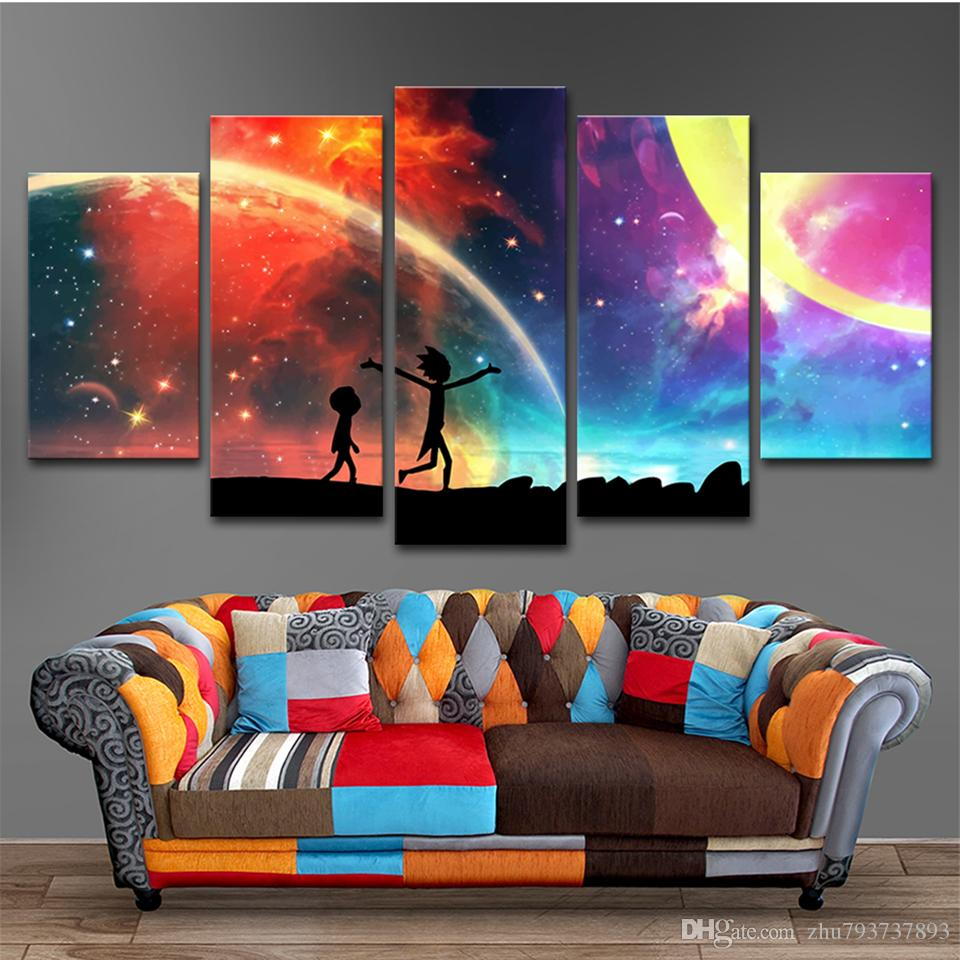 HD Printed Abstract Wall Art Modular Poster 5 Panel Rick And Morty Canvas Painting Pictures Home Decoration For Living Room