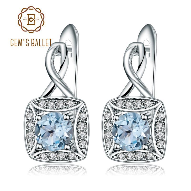 6d3750d5b Gem's Ballet Natural Sky Blue Topaz Genuine 925 Sterling Silver Clip ...