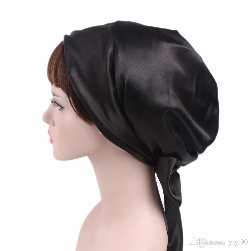 3097a53246f New satin bowknot headscarf floral printed sleeping bonnet long tail jpg  800x800 Silk head scarf for
