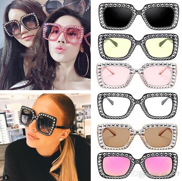 8c00e02d8ba0 New Vintage Oversized Square Frame Bling Rhinestone Sunglasses Luxury Brand Crystal  Women Fashion Shades Bling Sunglasses T1C150 Best Sunglasses For Men ...