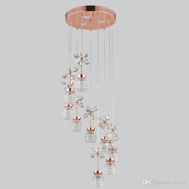 OOVOV Spiral Staircase LED Crystal Long Pendant Lamps Modern Duplex Stair Chandelier Dining Room Restaurant Pendant Light