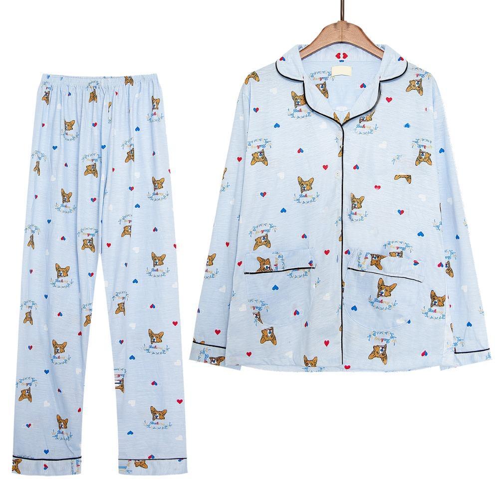41bb09e3aa 2019 New 2017 Pajama Sets Women Cute Corgi Print Set Long Sleeve Top +  Pants Elastic Waist Cotton Home Wear Pijamas S78801 From Lvyou09