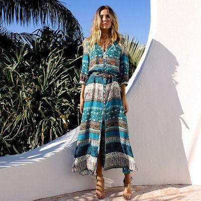 87ab82dba5 Women Bohemian Dresses Print Split Beach Skirt Fashion Casual Dress Ladies  Beach Party And Travel Long Dress Flower Summer Dresses Golden Party Dress  From ...
