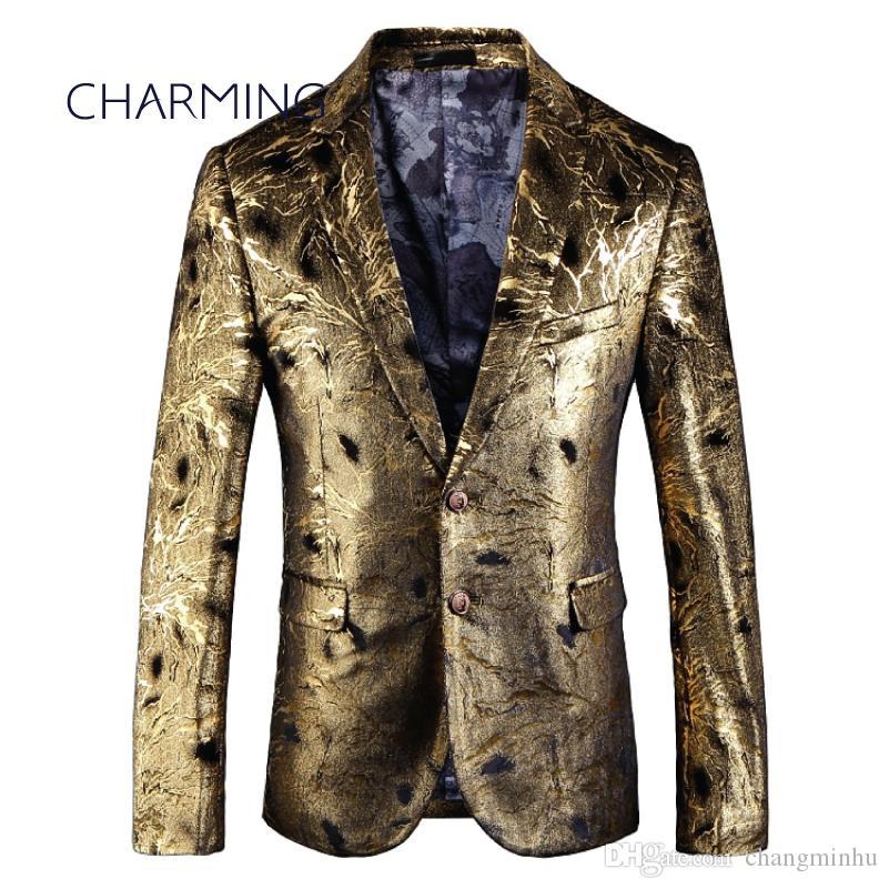 more photos 812f9 3e45b Abiti maschili, tessuto jacquard color oro, giacca da uomo, per la  performance da cantante, abito da cerimonia per la festa da ballo
