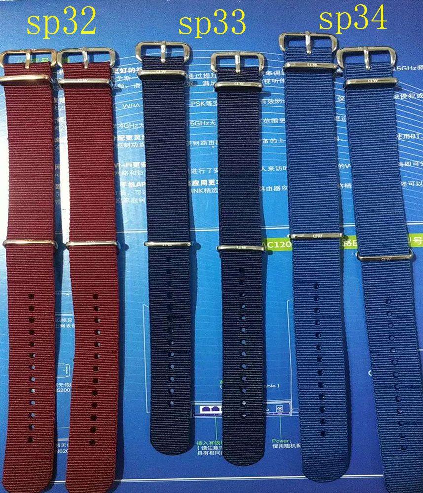 Correa de nylon de Daniel 2018 última correa de nylon azul roja Correa de reloj de 18MM 20MM de los hombres para mujeres Reloj DW