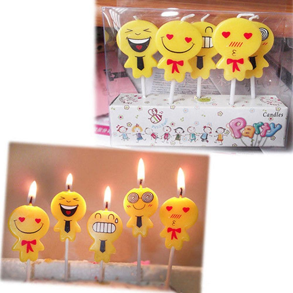 Cute Emoji Cake Candles Birthday Party Celebrations Decoration Set Festive Online