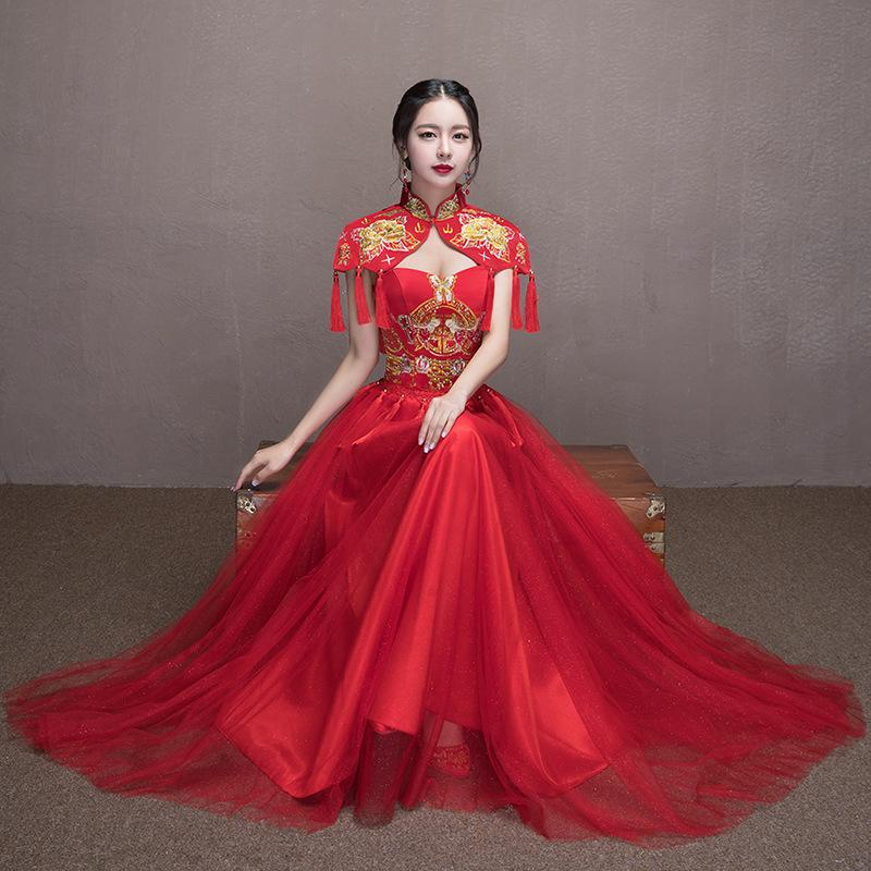 045184d03 2019 Women Phoenix Embroidery Bride Modern Chinese Wedding Dress Cheongsam  Red 2017 New Traditional Evening Gown Sexy Qipao Pattern From Carawayo, ...