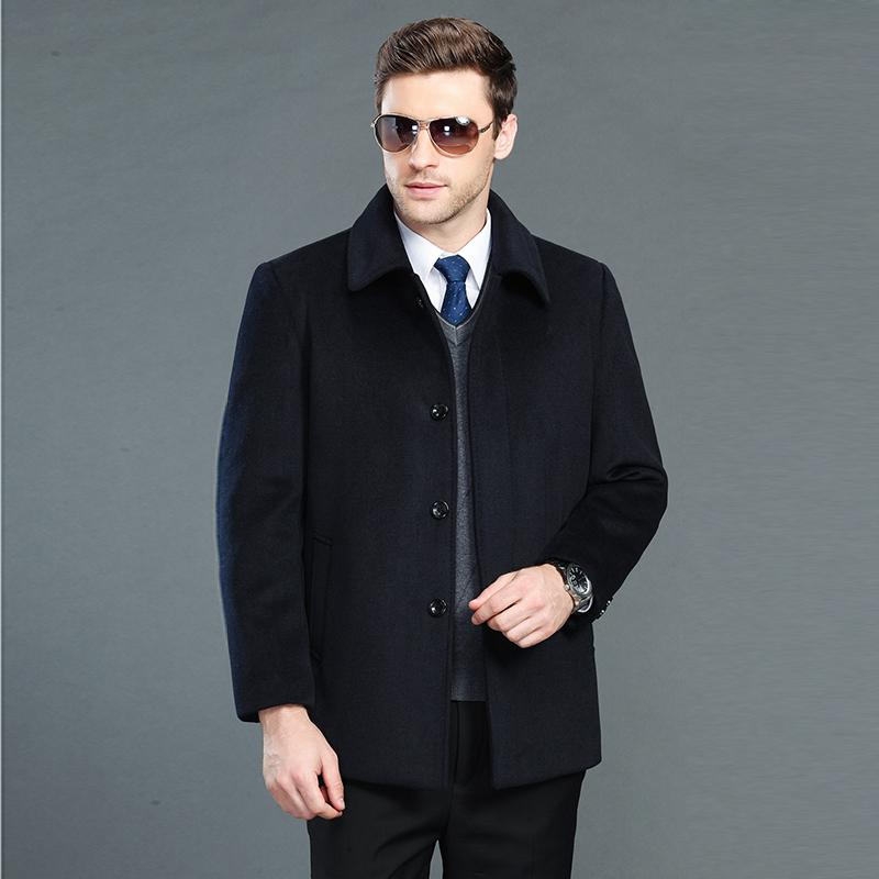 2017 Winter Men's Jackets And Coats Single Breasted Warm Mens Woolen Coats Turn-down Collar Quality Men Cashmere Overcoats 3XL