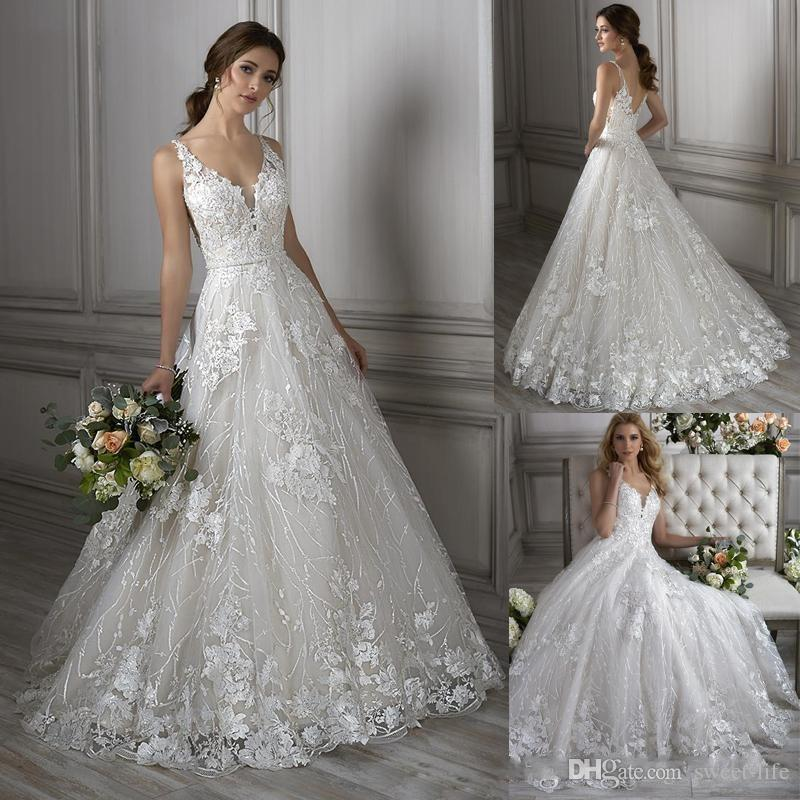 Discount 2018 Newest Modern A Line Wedding Dresses V Neck