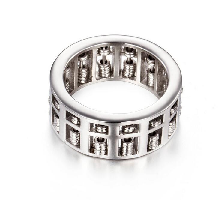 Lüks Moda Erkek Kadın Abaküs Yüzük Matematik Numarası Takı Altın Gümüş Titanyum Paslanmaz Çelik Charm Düğün Parmak Yüzük Hediyeler