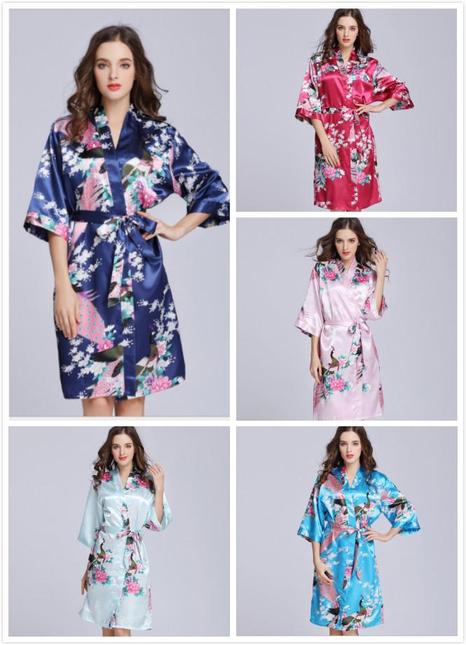 2019 Women Peacock Print Kimono Robe Lingerie Nightgown Sleepwear Short  Bathrobe From Xiayuhe 5821126f4