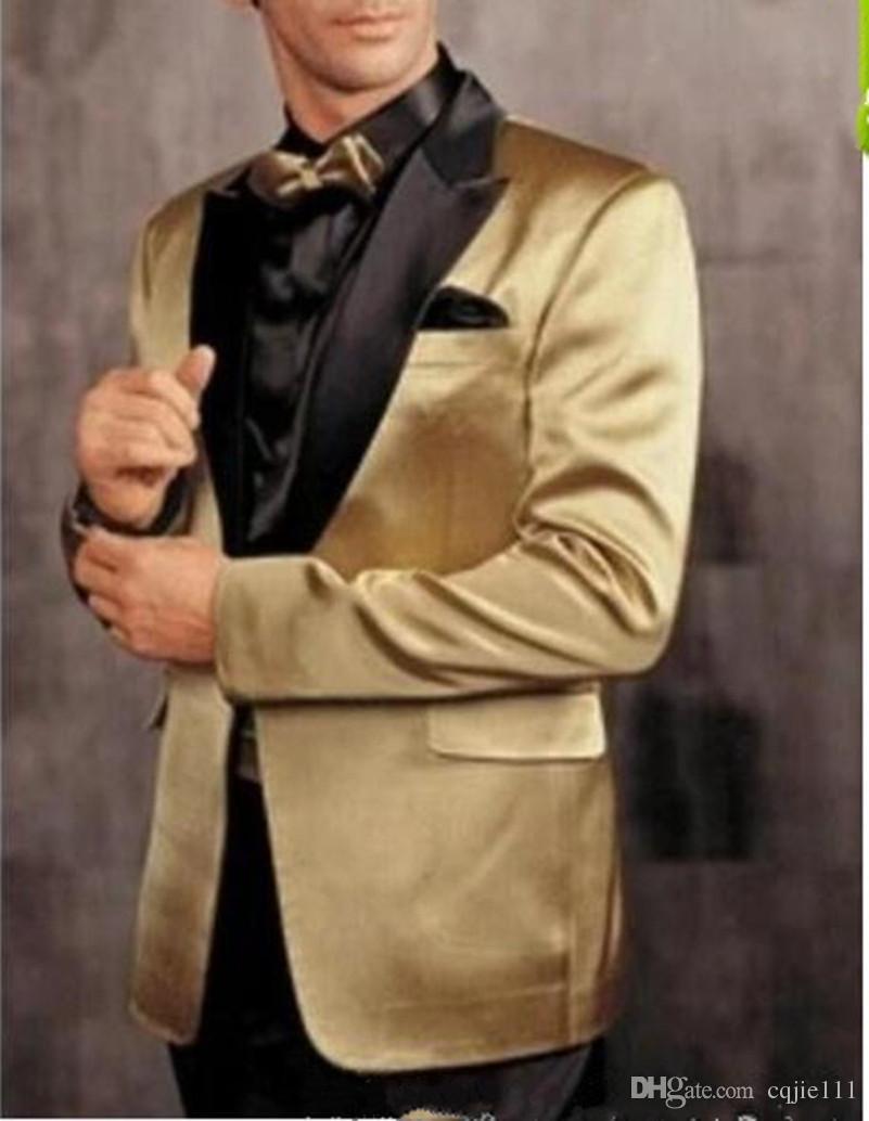 2018 Dernières One Button Gold Jacket Pantalon Noir Groom Tuxedos Peak Revers Groomsman Hommes Prom Blazer Costumes Marié Veste + Pantalon + Cravate