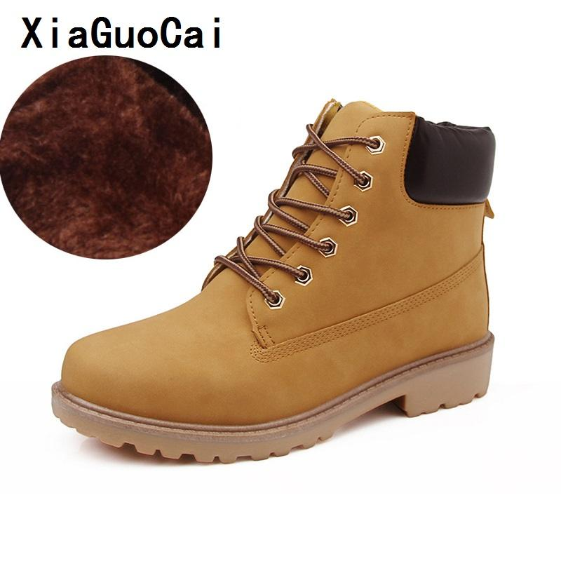 9305125d26c XiaGuoCai Men Winter Boots Big Size 36-46 Brand Hot Newest Keep Warm Pu  Leather Wear Resisting Casual Shoes Fashion Men Boots